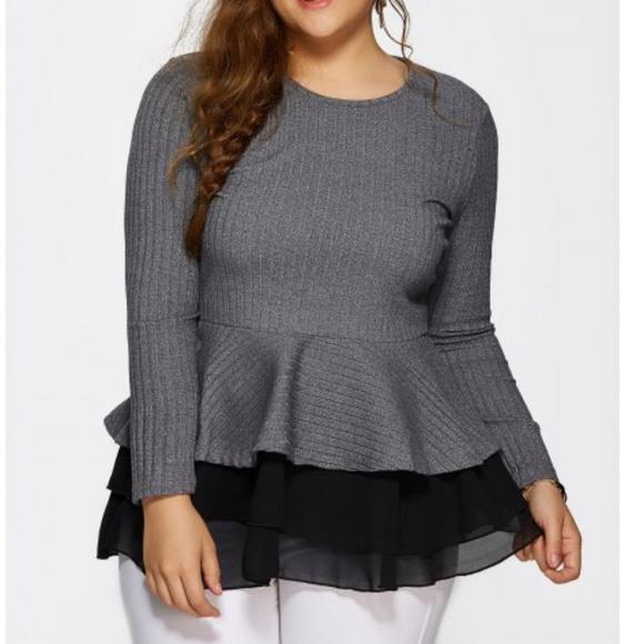 5be7174ba67 New Plus Size Peplum Sweater Top